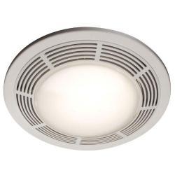 FAN/LIGHT/NIGHT LIGHT, 100 CFM, 3.5 SONES, ROUND WHITE GRILLE WITH GLASS LENS
