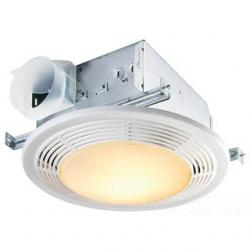 100 CFM, 3.5 SONES. FAN/LIGHT, ROUND WHITE GRILLE WITH GLASS LENS, 100W MAX INCANDESCENT LIGHT.